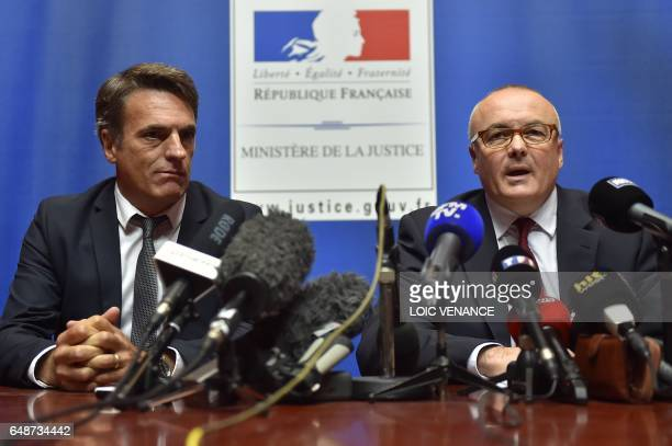 Nantes' prosecutor Pierre Sennes and Rennes' judiciary police superintendent Gilles Soulie hold a press conference at the Nantes courthouse on March...