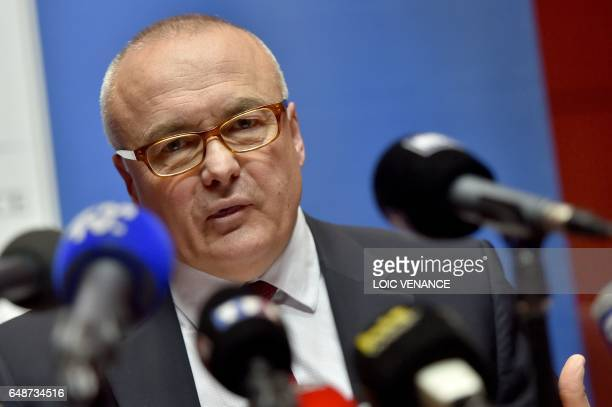 Nantes' prosecutor Pierre Sennes hold a press conference at the Nantes courthouse on March 6 following the latest developments on the killing of the...