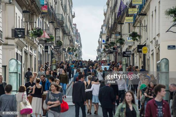 real estate buildings and houses in the street 'rue Crebillon' and crowd of walkers and passersby in the heart of the city