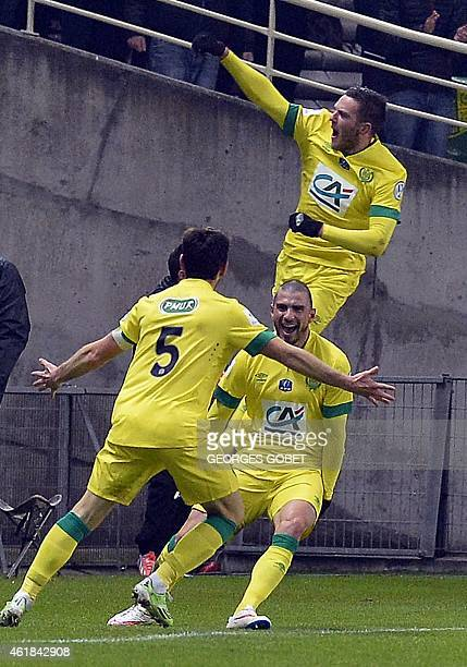 Nantes 's player celebrates after scoring during the French Cup football match FC Nantes vs Olympique Lyonnais on January 202015 at the La Beaujoire...