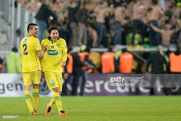 Nantes' US midfielder Alejandro Bedoya and Nantes' French defender Leo Dubois celebrate after winning the French Cup round of 16 football match...