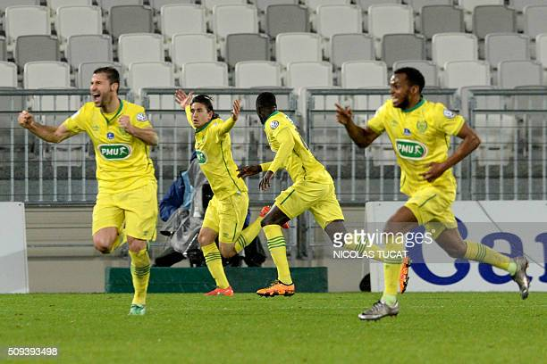 Nantes' US midfielder Alejandro Bedoya celebrates after scoring a goal during the French Cup round of 16 football match between Bordeaux and Nantes...