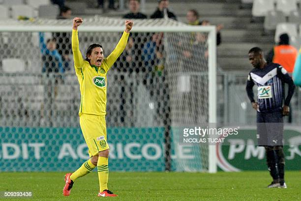 Nantes' US midfielder Alejandro Bedoya celebrates after winning the French Cup round of 16 football match between Bordeaux and Nantes on February 10...