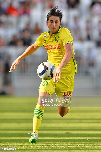 Nantes' US midfielder Alejandro Bedoya runs with the ball during the French Ligue 1 football match between Bordeaux and Nantes on August 30 2015 at...