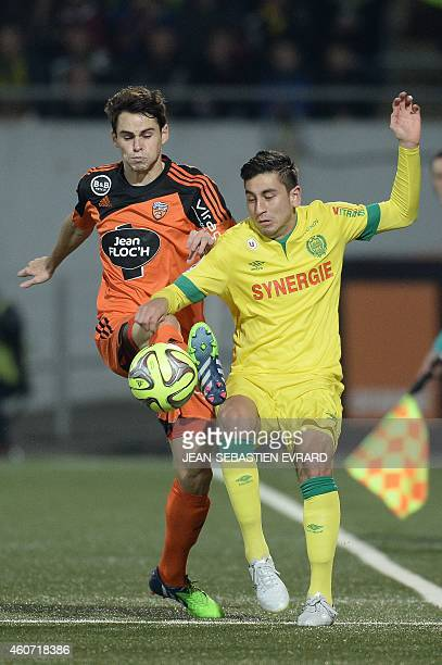 Nantes' US midfielder Alejandro Bedoya vies with Lorient's French defender Vincent Le Goff during the French L1 football match between Lorient and...