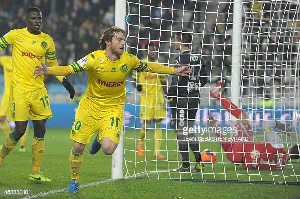 Nantes' VenezuelianSpanish forward Fernando Aristeguieta celebrates after scoring during the French L1 football match Nantes vs Valenciennes on...