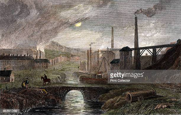 NantyGlow Iron Works Monmouthshire Wales c1780 This shows the works by moonlight The buildings on the left are probably puddling furnaces those on...