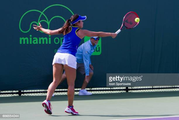 Nao Hibino during the qualifying round of the 2017 Miami Open on March 20 at Tennis Center at Crandon Park in Key Biscayne FL