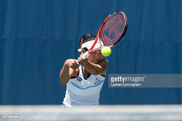Nao Hibino of Japan competes against Veronica Cepede Royg of Paraguay during day one of the Bank of the West Classic at the Stanford University Taube...