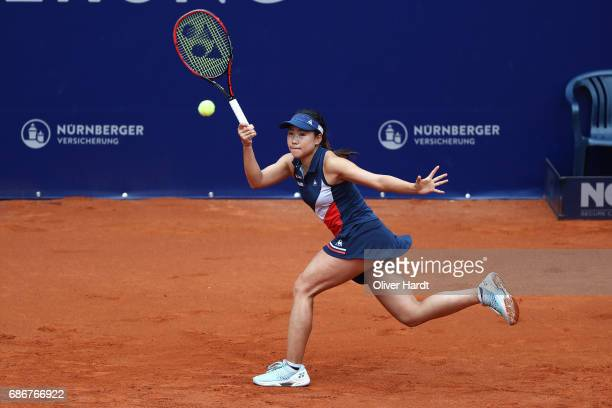 Nao Hibino of Japan in action against Julia Goerges of Germany in the first round during the WTA Nuernberger Versicherungscup on May 22 2017 in...