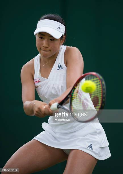 Nao Hibino of Japan in action against Madison Keys of USA during the Wimbledon Lawn Tennis Championships at the All England Lawn Tennis and Croquet...