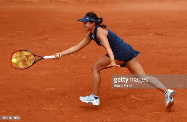 Nao Hibino of Japan plays a forehand during the ladies singles first round match against Carolina Garcia of France on day three of the 2017 French...