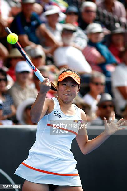 Nao Hibino of Japan plays a forehand in her singles match against Julia Goerges of Germany during day four of the 2016 ASB Classic at ASB Tennis...