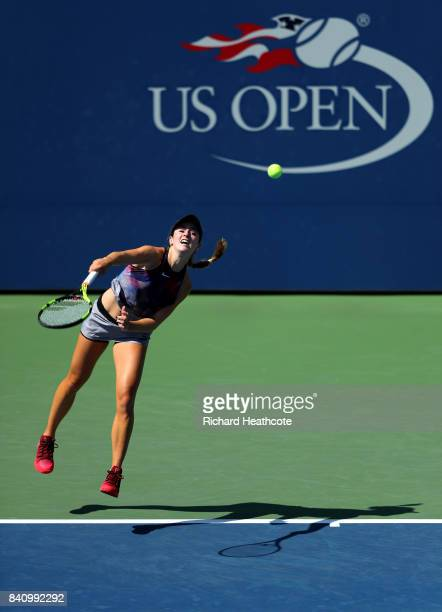 Nao Hibino of Japan serves to Catherine Bellis of the United States during their first round Women's Singles match on Day Three of the 2017 US Open...