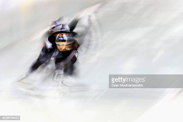 Nao Kodaira Arisa Go and Maki Tsuji of Japan compete in the Team Sprint Women on Day Two of the Speed Skating ISU World Cup on December 10 2016 in...