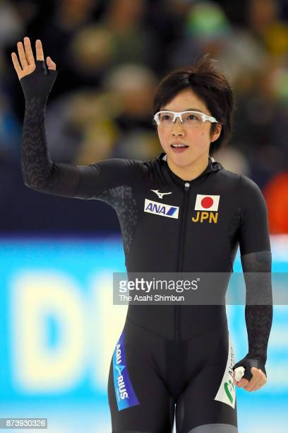 Nao Kodaira of Japan acknowledges fans after competing in the Ladies 1000m Division A during day three of the ISU Speed Skating World Cup Heerenveen...