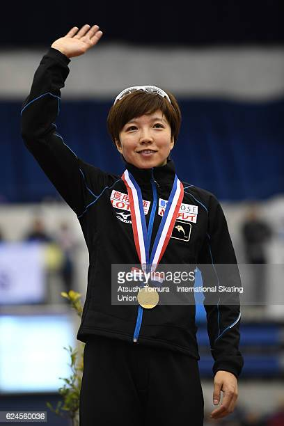 Nao Kodaira of Japan celebrates on the podium after winning the Ladies 500m Division A at M Wave on November 20 2016 in Nagano Japan