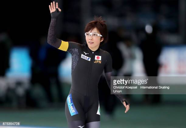Nao Kodaira of Japan celebrates winning in the ladies 1000m Division A race of Day 1 of the ISU World Cup Speed Skating at Soermarka Arena on...