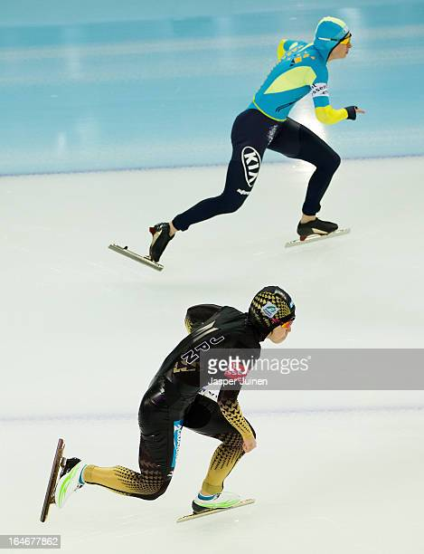 Nao Kodaira of Japan competes against Yekaterina Aydova of Kazachstan during the 500m race on day four of the Essent ISU World Single Distances Speed...