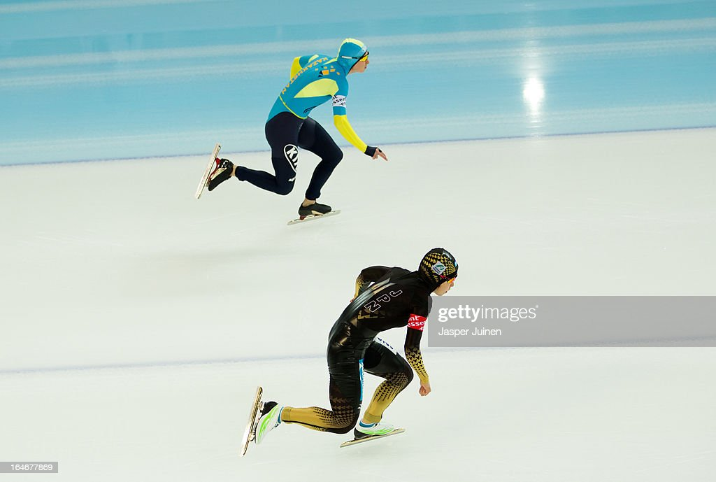 <a gi-track='captionPersonalityLinkClicked' href=/galleries/search?phrase=Nao+Kodaira&family=editorial&specificpeople=4067396 ng-click='$event.stopPropagation()'>Nao Kodaira</a> (R) of Japan competes against Yekaterina Aydova of Kazachstan during the 500m race on day four of the Essent ISU World Single Distances Speed Skating Championships at the Adler Arena Skating Center on March 24, 2013 in Sochi, Russia.