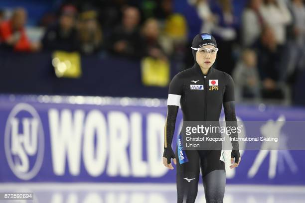 Nao Kodaira of Japan competes during the first ladies 500m Division A race on Day One during the ISU World Cup Speed Skating at the Thialf on...