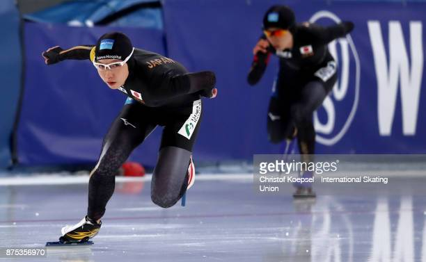Nao Kodaira of Japan competes in front of Miho Takagi of Japan in the ladies 1000m Division A race of Day 1 of the ISU World Cup Speed Skating at...