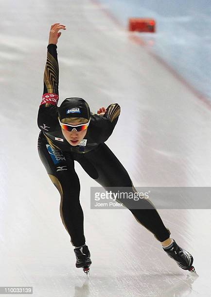Nao Kodaira of Japan competes in the 1000m heats during Day 3 of the Essent ISU Speed Skating World Cup at the Max Aicher Arena on March 12 2011 in...