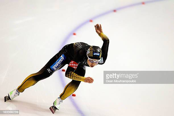 Nao Kodaira of Japan competes in the 500m Ladies race during Day 1 of the Essent ISU World Cup Speed Skating Championships 2013 at Thialf Stadium on...