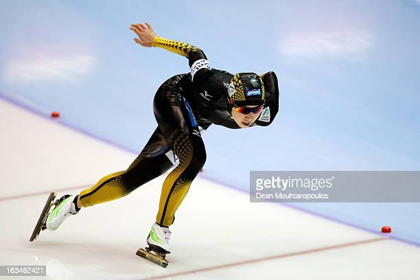 Nao Kodaira of Japan competes in the 500m Ladies race on Day 3 of the Essent ISU World Cup Speed Skating Championships 2013 at Thialf Stadium on...