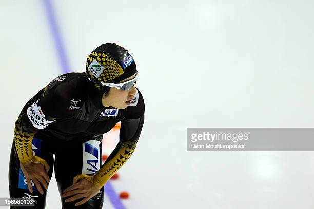 Nao Kodaira of Japan competes in the Division A 500m Ladies on day two of the Essent ISU World Cup Speed Skating at Thialf Ice Stadium on November 17...