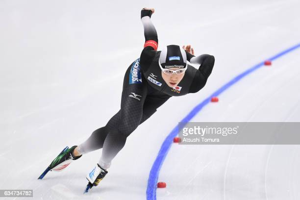 Nao Kodaira of Japan competes in the ladies 1000m during the ISU World Single Distances Speed Skating Championships Gangneung Test Event For...