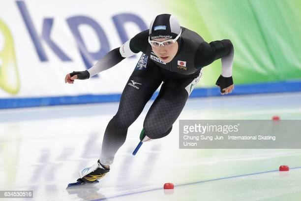 Nao Kodaira of Japan competes in the Ladies 500 during the ISU World Single Distances Speed Skating Championships Gangneung Test Event For...