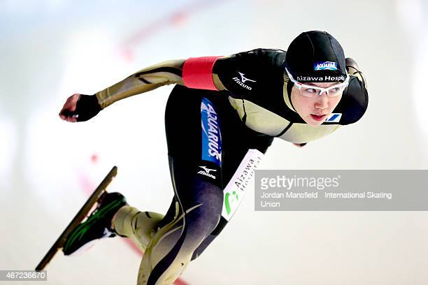 Nao Kodaira of Japan competes in the Women's 2nd 500m on Day 2 of the ISU World Cup Speed Skating Final at the Gunda NiemannStirnemannHalle on March...