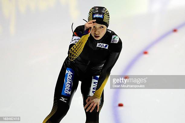 Nao Kodaira of Japan looks on after she competes in the 500m Ladies race on Day 3 of the Essent ISU World Cup Speed Skating Championships 2013 at...