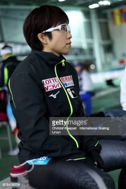 Nao Kodaira of Japan prepares during Day 1 of the ISU World Cup Speed Skating at Soermarka Arena on November 17 2017 in Stavanger Norway