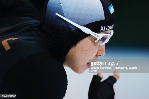 Nao Kodaira of Japan prepares in the Ladies 500m during day 2 of the ISU World Cup Speed Skating at Soermarka Arena on March 12 2017 in Stavanger...