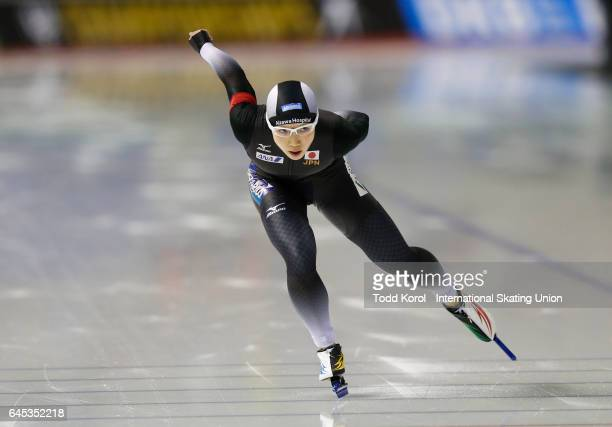 Nao Kodaira of Japan skates in the women's 1000 meter race during the ISU World Sprint Speed Skating Championships on February 25 2017 in Calgary...