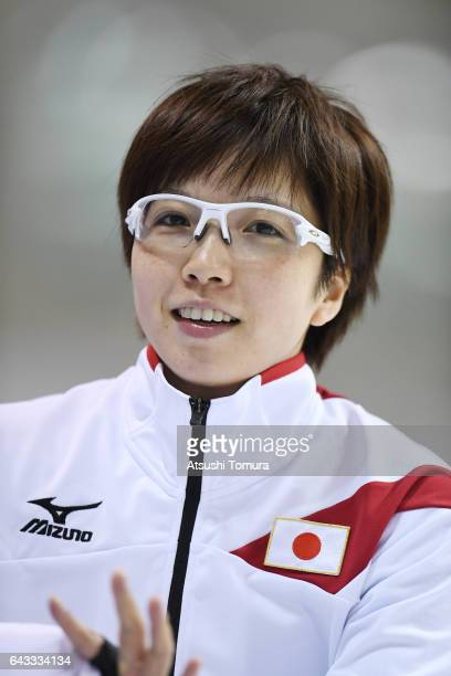 Nao Kodaira of Japan smiles after winning in the Speed Skating ladies 500m on the day four of the 2017 Sapporo Asian Winter Games at Obihiro speed...