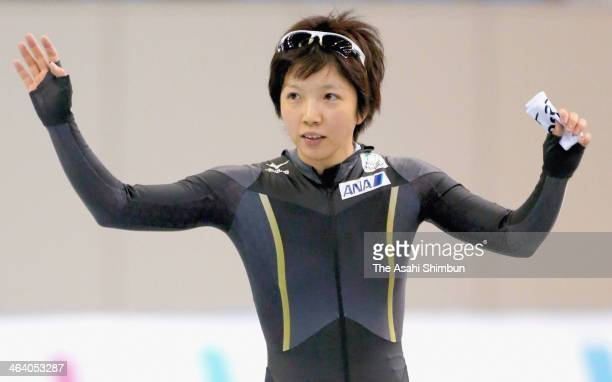 Nao Kodaira responds to the fans after finishing the second round of ladies 500m during Essent ISU World Sprint Speed Skating Championships 2014 at M...
