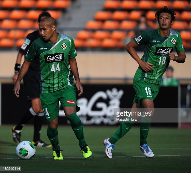 Naohiro Takahara and Seiichiro Maki of Tokyo Verdy in action during the JLeague second division match between Tokyo Verdy and Thespa Kusatsu Gunma at...