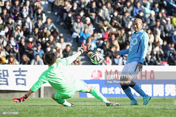 Naohiro Takahara of J Amigos in action during the Daisuke Oku Memorial Match between J Amigos and Yokohama Friends at Yamaha Stadium on January 18...
