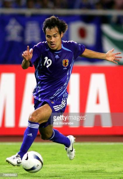 Naohiro Takahara of Japan in action during the AFC Asian Cup 2007 semifinal between Japan and Saudi Arabia at My Dinh National Stadium july 25 2007...
