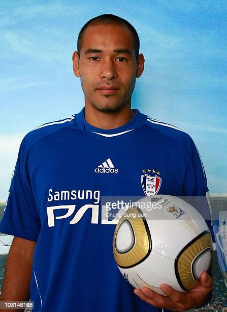 Naohiro Takahara of Japan poses with a Jabulani soccer ball after the Suwon Samsung Bluewings press conference at the Suwon Samsung Blue Wings club...