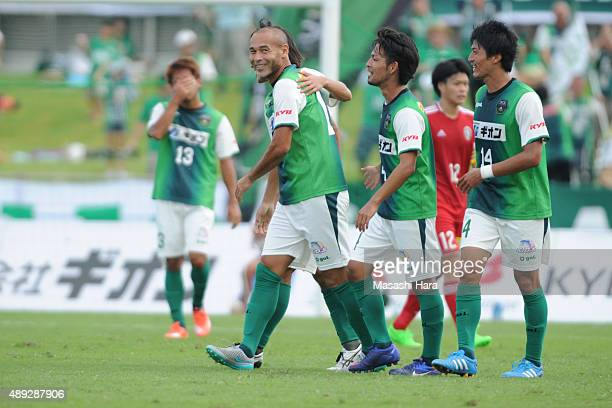 Naohiro Takahara of SC Sagamihara celebrates the third goal during the JLeague 3rd division match between SC Sagamihara and JLeague U22 Selection at...