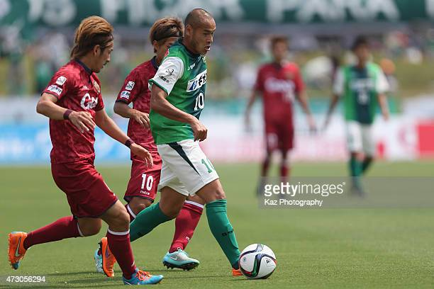Naohiro Takahara of SC Sagamihara in action during the JLeague third division match between SC Sagamihara and FC Ryukyu at Gion Stadium on May 10...