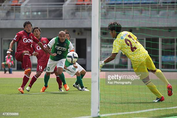 Naohiro Takahara of SC Sagamihara shoots at goal during the JLeague third division match between SC Sagamihara and FC Ryukyu at Gion Stadium on May...