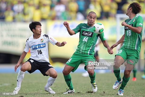 Naohiro Takahara of Tokyo verdy and Kentaro Sato of JEF United Chiba compete for the ball during the JLeague second division match between Tokyo...