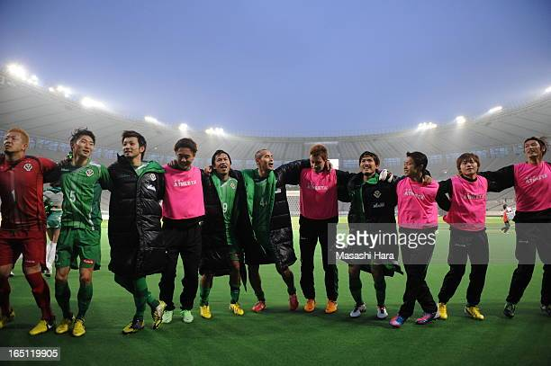 Naohiro Takahara of Tokyo Verdy and teammates celebrate the win after the JLeague match between Tokyo Verdy and FC Gifu at Ajinomoto Stadium on March...