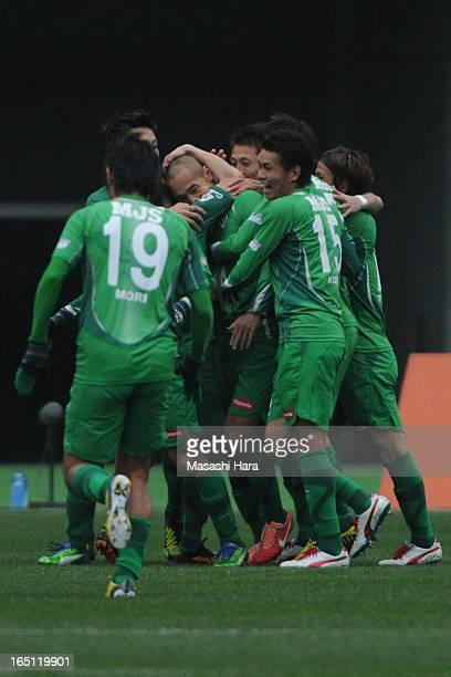 Naohiro Takahara of Tokyo Verdy celebrates the first goal with teammates during the JLeague match between Tokyo Verdy and FC Gifu at Ajinomoto...