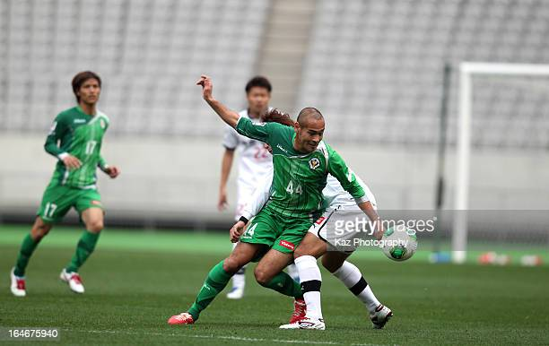 Naohiro Takahara of Tokyo Verdy controls the ball during the JLeague Second Division match between Tokyo Verdy and Roasso Kumamoto at Ajinomoto...